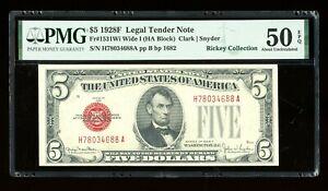 DBR 1928-F $5 Legal Wide I Fr. 1531Wi HA Block PMG AU-50 EPQ Serial H78034688A