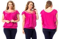 7COLORS Women's Top Pink Scoop-Neck Batwing-Sleeve PLUS SIZE 1XL~2XL~3XL