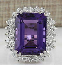 15.12 Carat Natural Amethyst 14K White Gold Diamond Ring