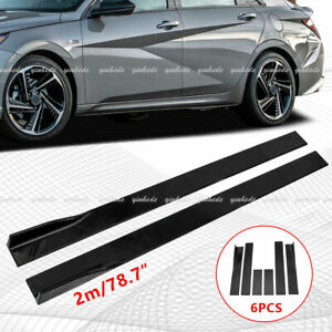 78.7'' For Hyundai Elantra 2003-2021 Gloss Black Side Skirt Rocker Panel 2M