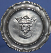 VINTAGE FRENCH HAND MADE PEWTER PLATE COAT OF ARMS