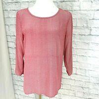 JOIE Small Top Silk Pink Geometric Print 3/4 Sleeve Oversized #S
