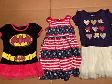 Three 4T Little Girl Dresses - Batman - Hearts - Flowers Buy Buy Buy Great Deal