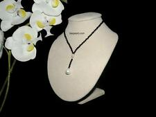 Black Crystals and 12MM Drop White Shell Pearl necklace Bridal Wedding