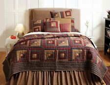 Full Queen Quilt Hand Stitched Log Cabin Patchwork Red Blue Cotton Millsboro