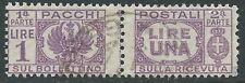 1946 LUOGOTENENZA USATO PACCHI POSTALI 1 LIRA - Z5-3
