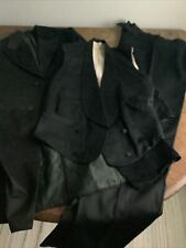 Vintage Antique 1900s Mens Three Piece Fine Wool Black Suit