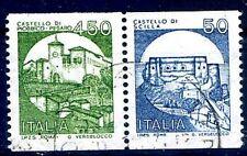 ITALIA 1980 - CASTELLI IN BOBINA  COPPIA 450+50 USATA