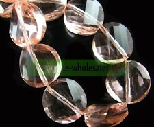 10pcs 14mm Twist Flat Coin Faceted Rondelle Crystal Glass Loose Spacer Beads Hot