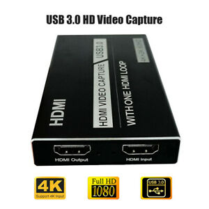4K 60Hz Video Capture Card HDMI USB 3.0 Video Grabber Record Box Loop Out