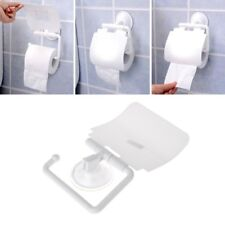 Wall Mounted Plastic Suction Cup Bathroom Toilet Paper Roll Holder W/ Cover New
