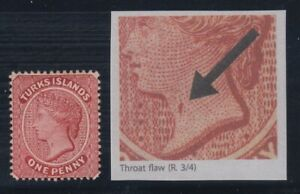 """Turks Islands, SG 1a, MHR (slight short gumming) """"Throat Flaw"""" variety"""