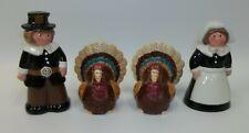 Thanksgiving Pilgrims & Turkeys Salt Pepper Shaker Sets
