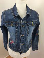 Xhilaration Youth Girls Denim Jacket Sz 14-16 Stretch Embroidery Detail