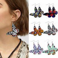 Fashion Colorful Butterfly Leather Earrings Hook Drop Dangle Women Jewelry Gifts