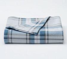 NEW Holiday Fall Blue Plaid Fleece Plush Throw Blanket Super Soft 60x50