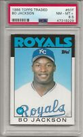 1986 TOPPS TRADED # 50T BO JACKSON, ROOKIE, PSA 8.5 NM-MT+,  K.C. ROYALS L@@K !