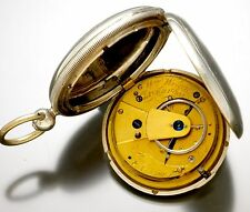 Antique 17 Size Sterling Silver Lever Fusee Wm. Wright Pocket Watch  CA1860s