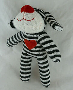 """DanDee Collectors Choice black & white striped sock Dog 9.5"""" tall W red heart"""