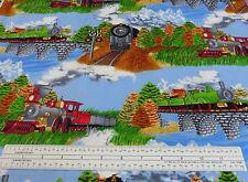 Train & Railroad Fabric Scenic With Bridges Timeless Treasures 2003 GM-C5682