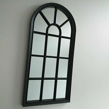 WINDOW STYLE MIRROR DECORATION LIVING ROOM HOME WALL MOUNTED VINTAGE BLACK 70CM