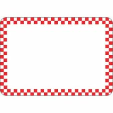 "Hubert® Vinyl Heat Resistant Write On Tag With Red Checks - 2 7/8""H x 4 1/8""L"