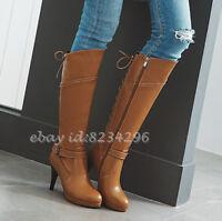 Kreuzgurt Wadenhohe Stiefel Damenschuhe High Heels Europa Boots Plusgrosse 33-48