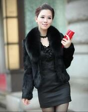 Womens Warm Jacket Faux Fur Collar Short New Winter Coats Black White Sz jackets