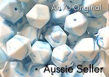 10 silicone beads BLUE MARBLE 17mm hexagon BPA free baby nursing jewellery dark