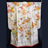 """Vintage Japanese Wedding Kimono Robe Uchikake Bridal Dress Silk """"Festive Fans"""""""