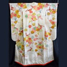 "Vintage Japanese Wedding Kimono Robe Uchikake Bridal Dress Silk ""Festive Fans"""