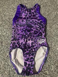 GK Nastia CM Child Medium Black Purple Animal Print leotard EUC Gymnastics Leo