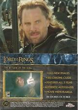 LORD OF THE RINGS TRILOGY 2004 TOPPS CHROME PROMO CARD P3 SAN DIEGO COMIC CON