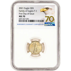 2021 American Gold Eagle 1/10 oz $5 - NGC MS70 First Day of Issue Grade 70 Label