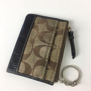 Coach Leather Brown Wallet Coin Purse Zip Top Keyring