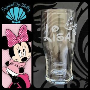 Personalised Disney Minnie Mouse Bow Pint Glass Perfect Gift For Her Hand Made!