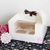 6x Clear Window 4 holes Cupcake Box - fit 4 cupcakes - cake muffin carrier boxes