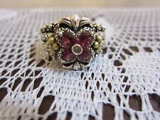 BARBARA BIXBY FLOWER GARNET TOPAZ RING STERLING & 18K GOLD NEW SIZE 9 PRETTY
