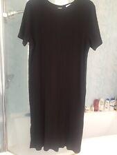 PAPAYA MATERNITY BLACK RIBBED SHORT SLEEVE BODYCON PULL-ON SMART DRESS SIZE 20