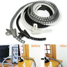 2m Cable Cord Tidy PC TV Wire Organising Tool Spiral Wrap Home Office With Clip