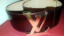 Louis Vuitton Vernis Belt Logo Amarante Patent Leather LV Initiales