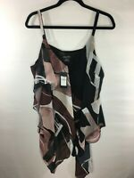 NEW City Chic Women's Sz 18 Plus Size Sahara Print Tiered Layered Top