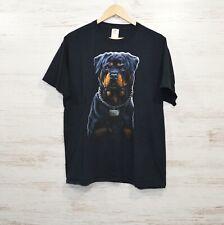 Black Rottweiler Dog T-Shirt Men's Size Large