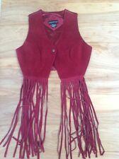 Vintage Women's Leather Fringe Vest By Passport Medium Maroon Suede Cropped