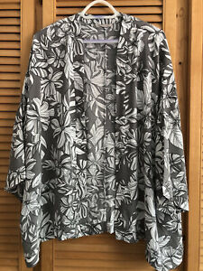 M&S Kimono Grey Floral, Size 24