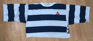Vintage Diane Von Furstenberg Striped Navy White Cropped Shirt Anchor Nautical M