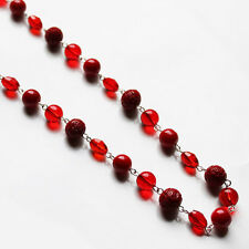 Handmade 79cm Long Silver and Red Glass Bead Necklace