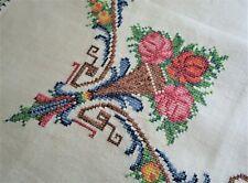 *Vintage 1950s 105cm Square Hand Embroidered Cross Stitch Cream Linen Tea Cloth