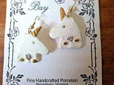 Fine Handmade Porcelain  Unicorn Earrings with 24K Gold Gilding & Crystals