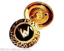 1 BOUTON original de la marque WEILL métal couleur or émail noir 26mm button